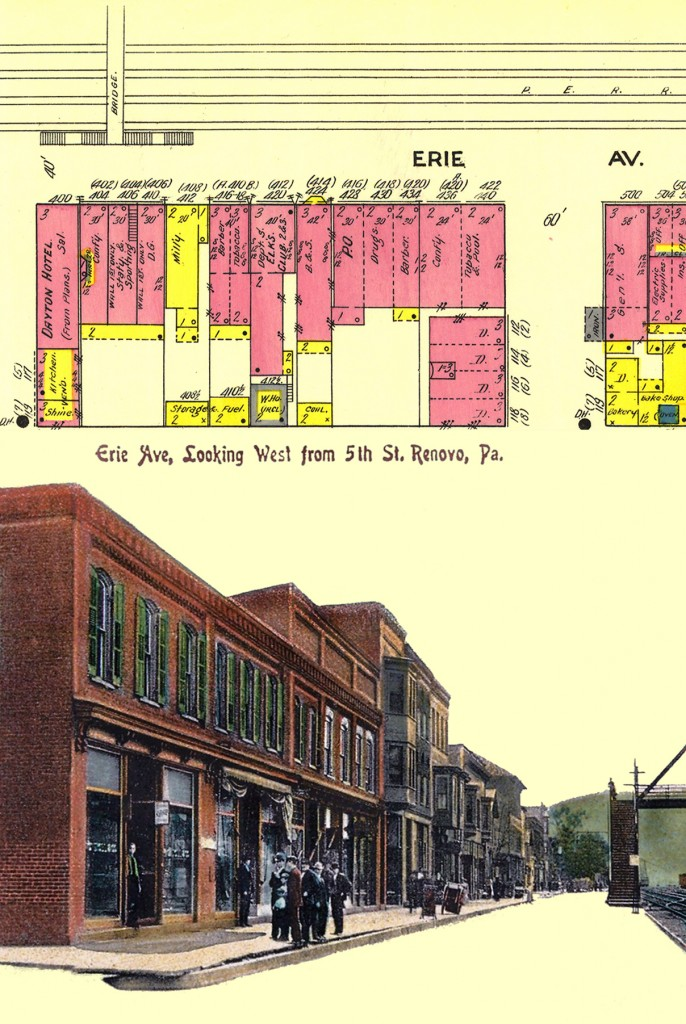 After Photoshop, 1911 map on top, postcard on bottom